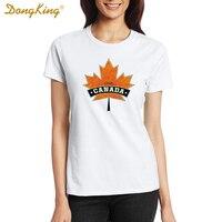 DongKing das 2017 novas Mulheres Casuais T-shirt Hipster Marca CANADÁ AMOR Impressão T-Shirt Dos Homens Camiseta de Algodão de Verão Tees