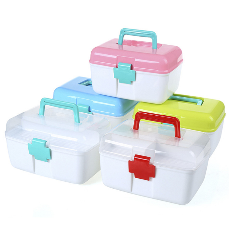 1pcs plastic portable multifunctional medical household portable medicine storage supplies double multi-color health medical kit