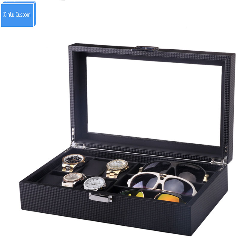 Luxury Collect Box foe 6 Watch +3 Glasses Storage Display Case Design with Glass Window  STORAGE DISPLAY GLASSES CASE ORGANIZER Luxury Collect Box foe 6 Watch +3 Glasses Storage Display Case Design with Glass Window  STORAGE DISPLAY GLASSES CASE ORGANIZER
