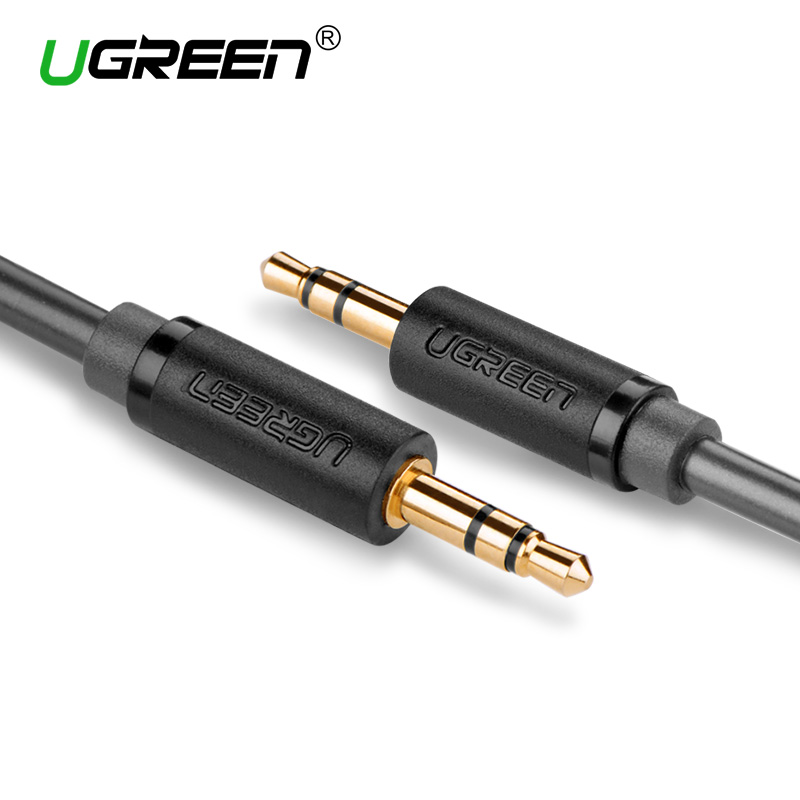 Ugreen 3.5mm Jack Aux Cable Gold Plated Male to Male 3.5mm Audio Cable for  Speaker Headphone TV DVD Amplifer Auxiliary Cord new liton 6n sivel plated 1m stereo audio cable 3 5mm male to 2 rca male for subwoofer tv speaker