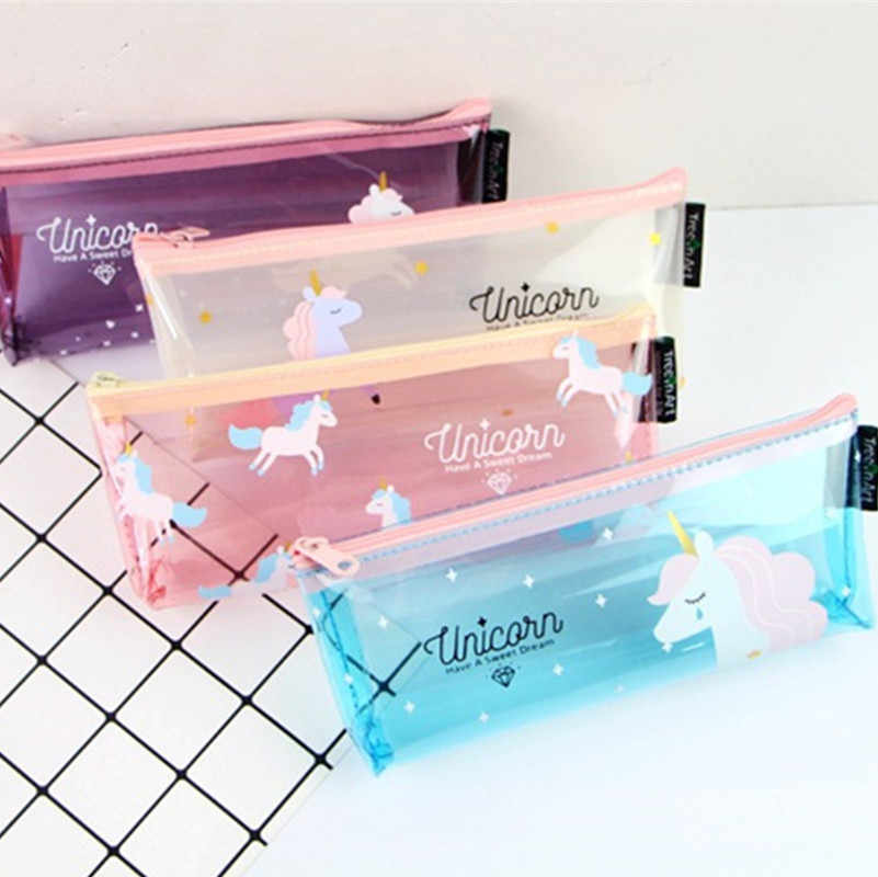 Cartoon Unicorn Pencil Case Cute Transparent pencil bag stationery pen pouch kids gift Office school Supplies Capacity Creative