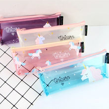 Cartoon Unicorn Pencil Case Cute Transparent pencil bag stationery pen pouch kids gift Office school Supplies Capacity Creative(China)