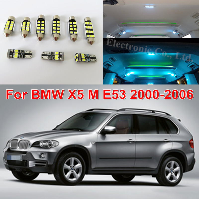 WLJH 19x Error Free Canbus Light 2835 SMD Mirror Door Interior Lighting Package Kits Led for BMW X5 E53 M 2000 - 2006 Pure White