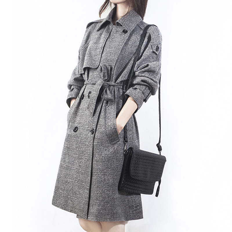 Pardessus Printemps Femelle Long Fins Casaco Trench Grande Lx401 Gray Breasted Taille Double coat Coréenne Femmes Feminino 3xl Plaid 2019 Manteaux kXiwPuTOZ