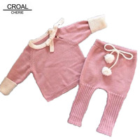 Handmade Bow Knitted Newborn Baby Girl Clothes Winter Autumn Infant Clothing Set Pink Pulling Rope Coat