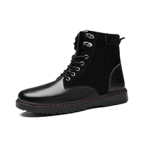 ZENVBNV 2017 Winter New Motorcycle Boots Men Fashion Round Toe Lace Up High Quality Pu Leather