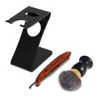 ALIVER 3 Pcs Manual Shaver Set Safety Razor Shaving Brush Acrylic Stand Holder Classic Mens Shaving Hair Removal Shaver