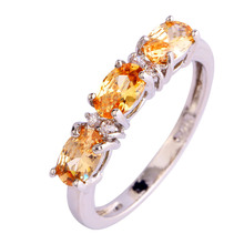 Free Shipping Prettyy Style Champagne Morganite 925 Silver Ring Size 6 7 8 9 1 0 11 12 New Fashion Jewelry Gift For Women(China)