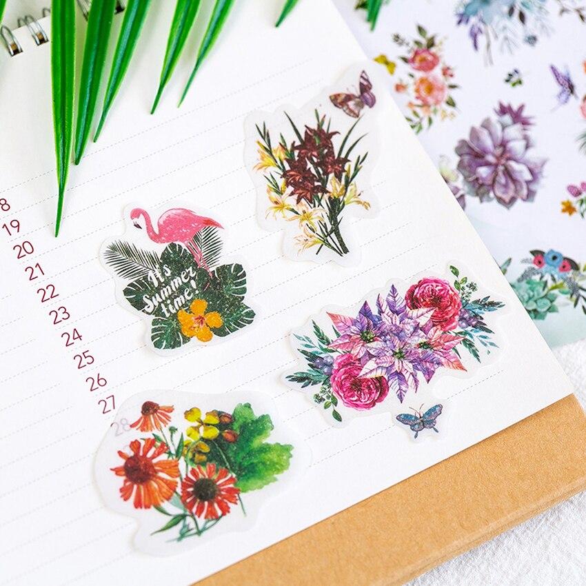 Купить с кэшбэком 60pcs/pack Flower Stickers Vintage Memory Series Stationery Decorative Children DIY Diary Stickers Scrapbooking Label Gifts