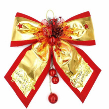 New Shiny Golden Merry Christmas Bowknots with Small Hanging Balls Pendants for Xmas Home Hotel Wall Decoration