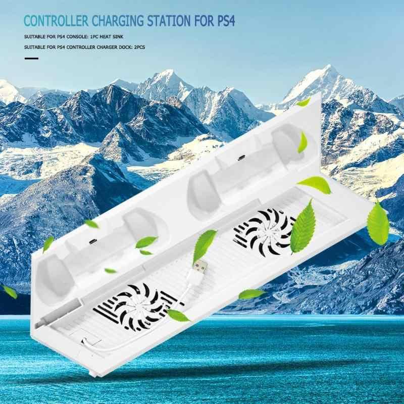 منصة رأسية مروحة التبريد ل PS4 وحدات تحكم متعددة المزدوج شحن محطة شاحن لعبة وحدة التحكم برودة ل PS4 لعبة الملحقات