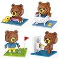Línea lindo amigos marrón oso diamante nano plástico bloques de construcción cube educativos diy mini ladrillos de juguete de regalo para el cabrito