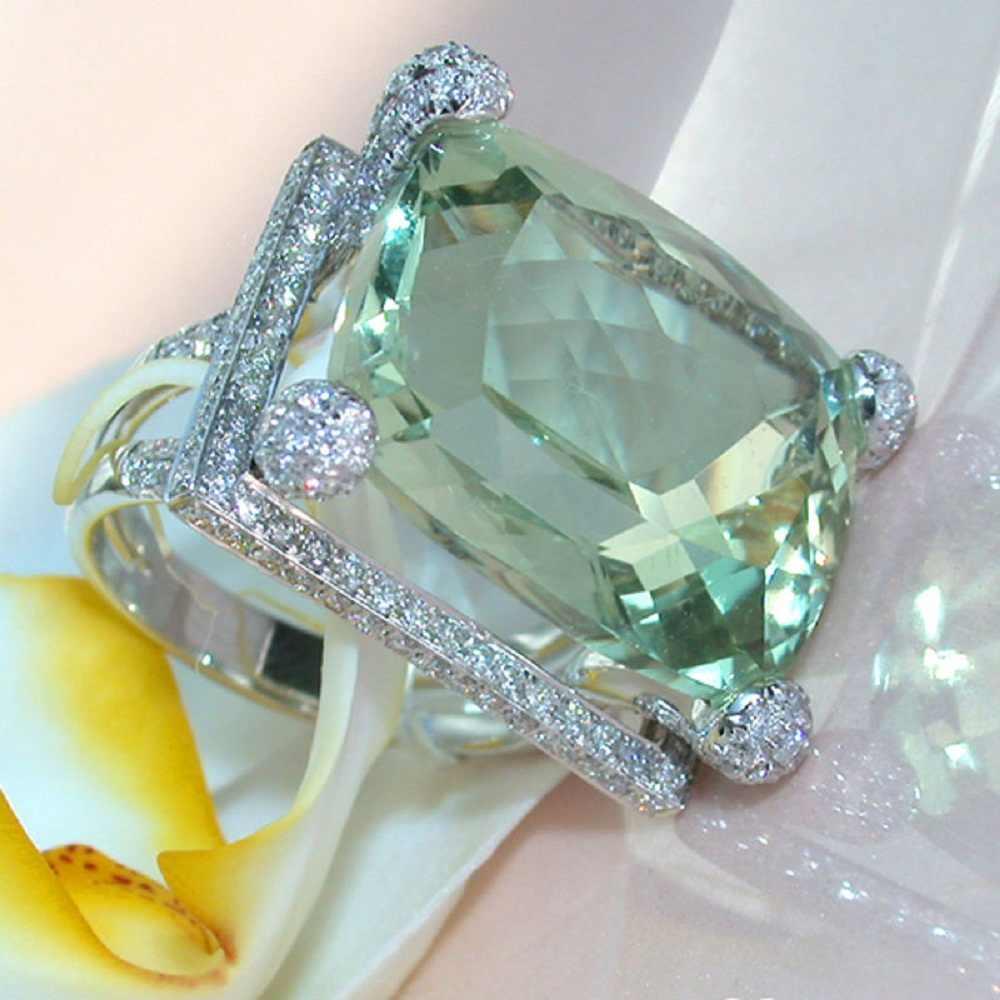 2018 New Women Lady Elegant Green Big Rhinestone Crystal Ring Hollow Wedding Engagement Rings Jewelry