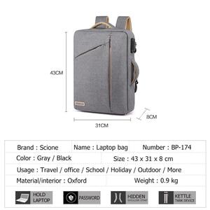Image 4 - Scione erkekler katı iş dizüstü sırt çantası gizle omuz askısı çanta erkekler kadınlar için öğrenci şifreli kilit eğlence okul sırt çantası