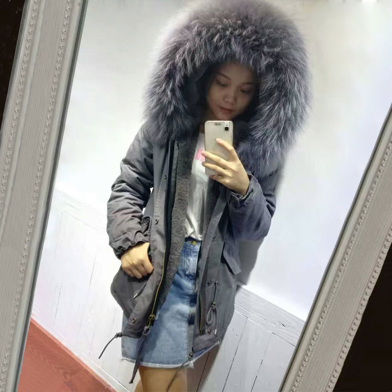 2016 new arrival dark grey elegant Italy winter coat big collar short style women jacket