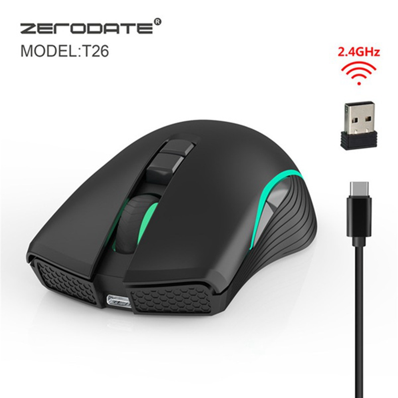ZERODATE 2.4 Wireless Mouse Rechaergerable Gaming Computer Mouse Eergonomic Mouse For Pc For Laptop Notebook Type C Fast Charger