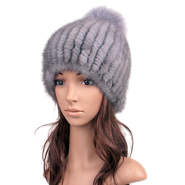 100% Real Natual  knitted Mink Hair Fur Hat Hot Sale winter mink fur beanies with fox fur pompoms winter spring thick female cap