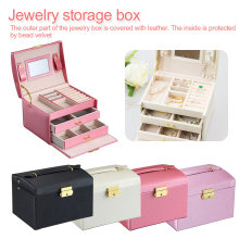 Double Drawer bracelet Box Jewelry Three-layer Leather Storage cosmetics necklace storage box