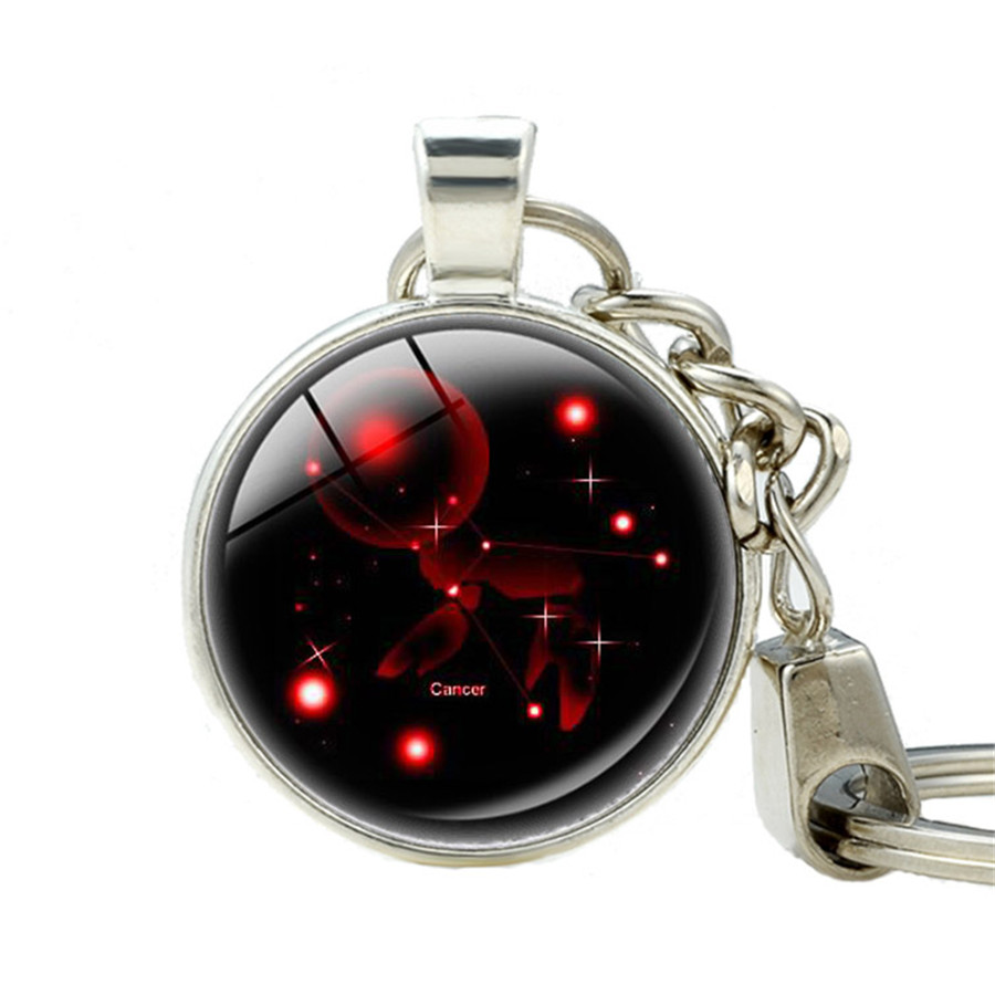 Aliexpress Com Buy 12 Zodiac Signs Constellation: Signs 12 Zodiac Keychains Glass Cabochon 12 Constellation