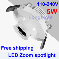 COB Spot LED downlight,3W 5W 7W AC110 240V,3000K 4000K 6000K,Museum cabinets,Zoom 360 degree rotation ceiling,CE RoHS