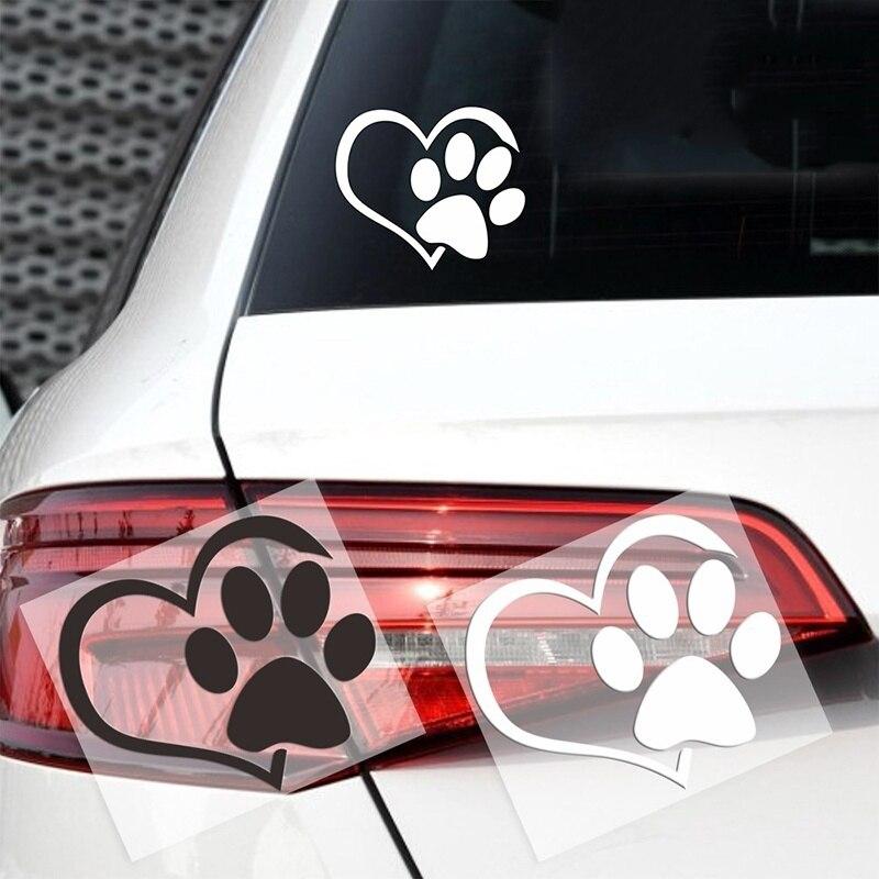 Autocollant de voiture patte de chien avec coeur de pêche, étiquette de voiture, dessin animé, Animal, chien, chat, amour, Animal de compagnie, empreintes 3D
