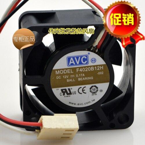 AVC F4020B12L 12V 0.10A 4CM 4020 3 wire ball bearing server cooling fan 40X40X20MM