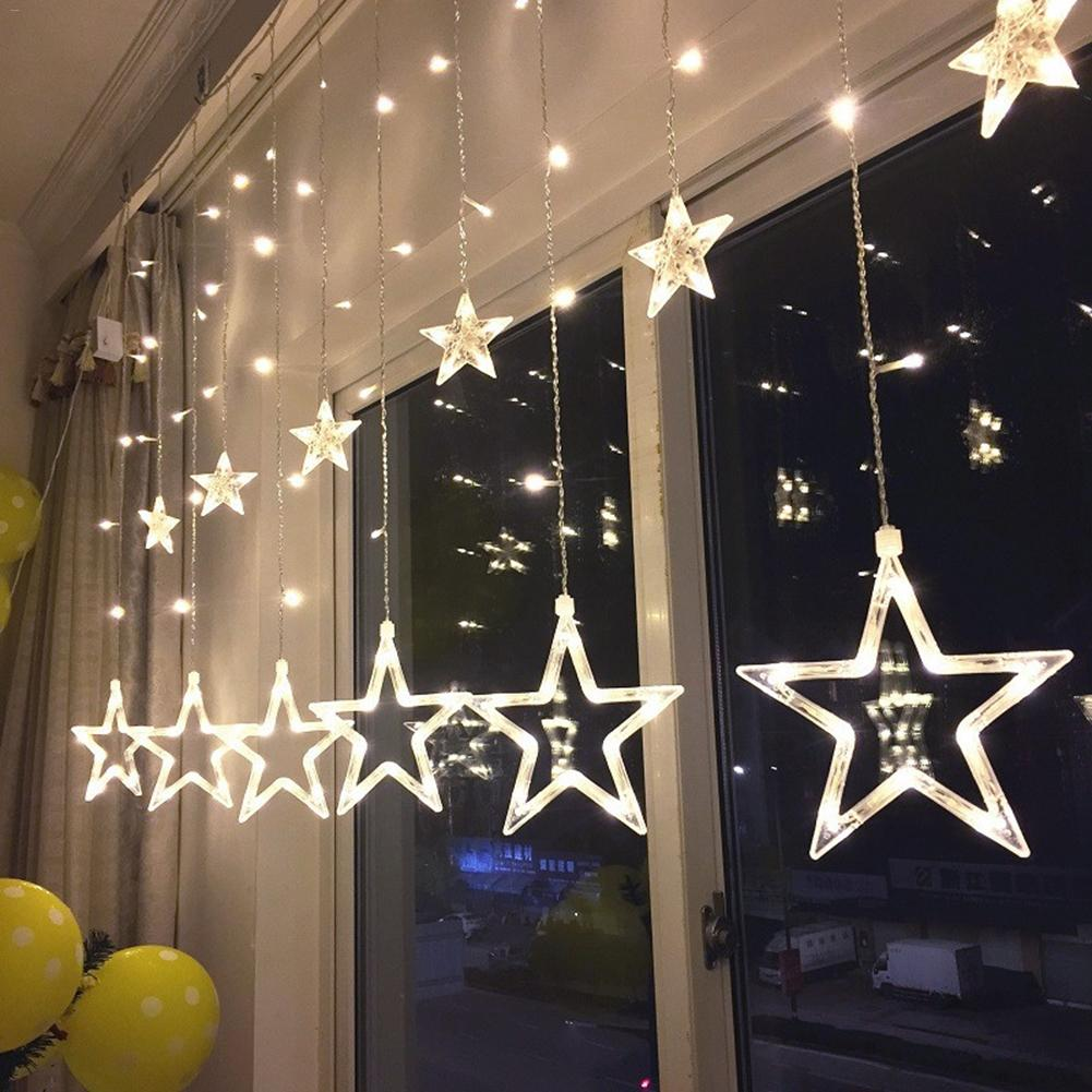 2.5M LED lights five-pointed star curtain light star wedding birthday X-mas light indoor Warm white AC 220V Garland Party Decor star decor rod pocket sheer curtain 1pc