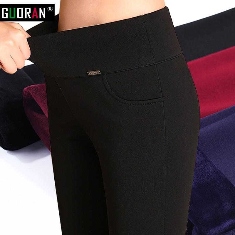 Thicken Warm Plus Velvet Women Trousers 16 Winter Black Red Blue High Waist Stretch Pencil Pants Female Fleece Office Pantalon 23