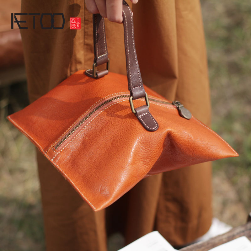 AETOO New clutch bag handmade leather envelope female bag long section leather wallet soft leather hand bag dual-use small bag aetoo new retro literary clutch bag shoulder slung small bag female bag leather dual use envelope small bag