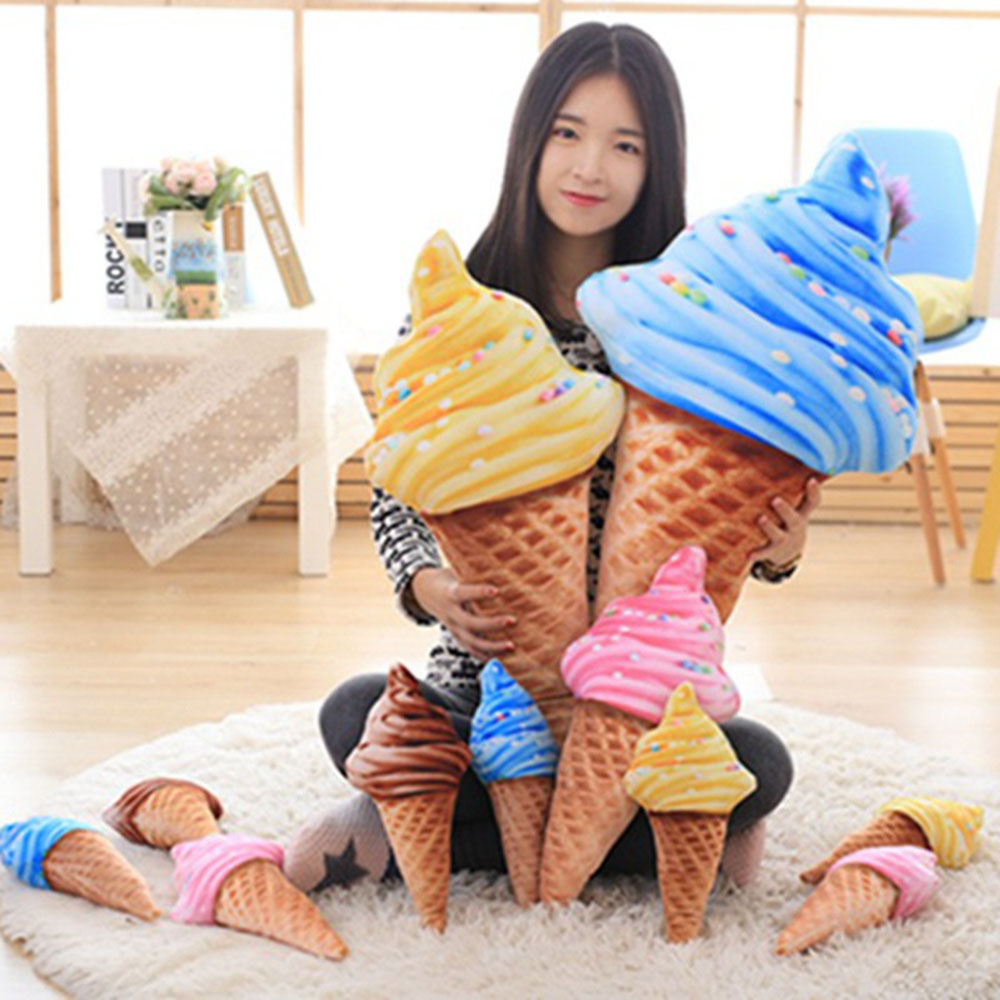 3D Ice Cream Pillow Waist Pillow Ice Cream Cushion Sweet Funny Pillow 30cm 4 Patterns Gifts Beds Soft Doll Sofa Children Toy