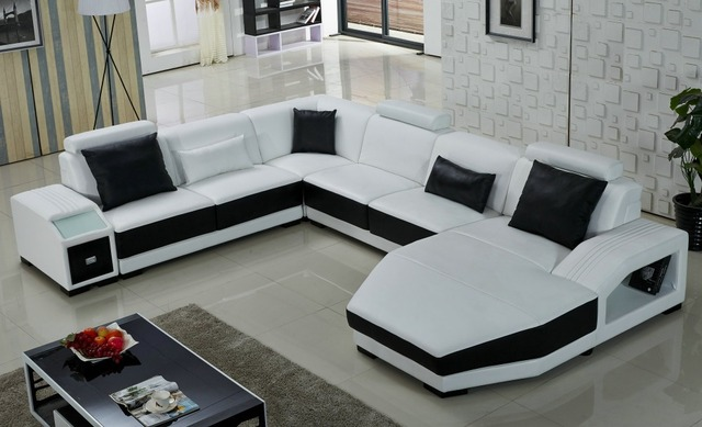 U Sofa Queen Size Sleeper Mattress Topper White Shaped In Living Room Sofas From Furniture On
