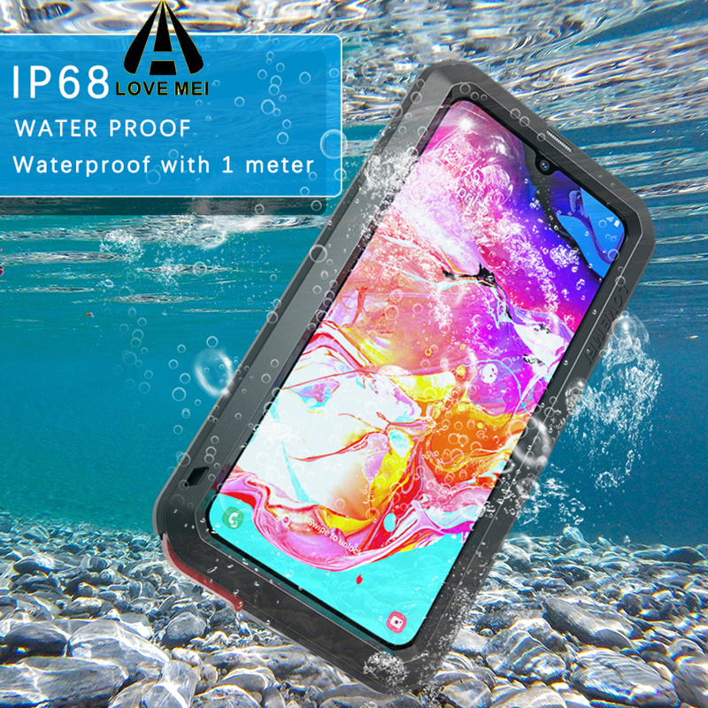 Image 2 - LOVEMEI Powerful IP68 Waterproof Shockproof Metal Case For  Samsung Galaxy A70 Aluminum Silicone Tempered Glass Phone Cover  BagFitted Cases