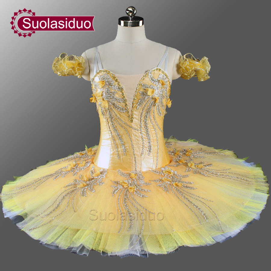 Filles professionnel Ballet Tutu or jaune fleur fée crêpe casse-noisette ballerine robe crêpe Ballet Tutu SD0076