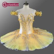 Girls Professional Ballet Tutu Yellow Gold Flower Fairy Pancake Nutcracker Ballerina Dress SD0076