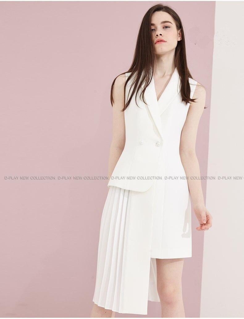 Robes Gilet Loisirs 2018 Blanc Printemps Partie Slim Dames Costume Robe Mode Plissée Nouveau été Femmes Irrégulière CfnRnW7
