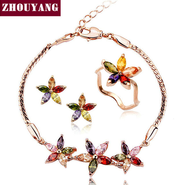 ZYS020 Flower set Rose Gold Color Jewelry Ring Earring Bracelet