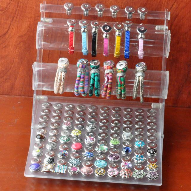 Mais novo botão snap pulseira exibição fit 18mm 20mm botão para 100 pcs (sem botão, pulseira)
