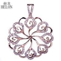 HELON Round Cut 8 15mm Pearl Semi Mount Solid 14K (585) Rose Gold Real Diamonds Flower Style Pendant Women Trendy Fine Jewelry
