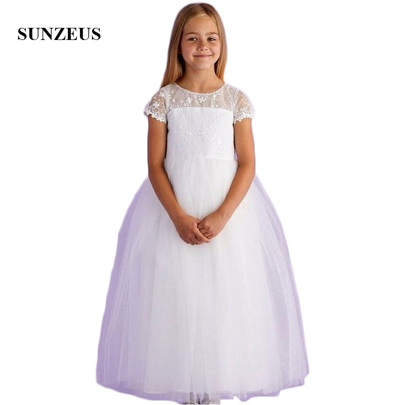 Short Lace Sleeve   Flower     Girls     Dresses   Ankle Length Soft Tulle Puffy A-Line   Girls   First Communion   Dresses   vestido flores SF64