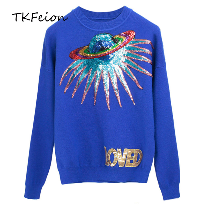 Autumn Winter Ladies Knitted Tops 2018 Female Fashion Street Casual Sweater Planet Letter Sequins Embroidery Women Slim Pullover