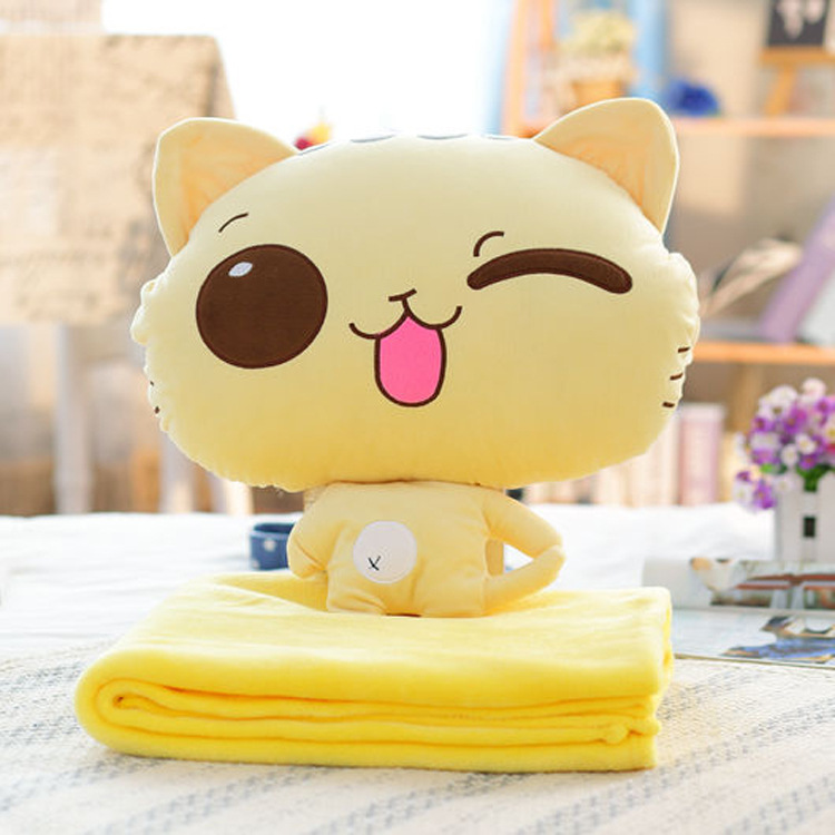 Cartoon Cat <font><b>Cushion</b></font> Blanket <font><b>Cushion</b></font> Three In One Purpose Pillow Multi-function Blanket Plush Sofa Bed Home Car Hand Rest
