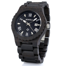 BEWELL Man Watch Top Brand Natural Sandalwood Quartz Wris Watch and Luminous Pointers Calendar Casual Men's Watches 109B цена