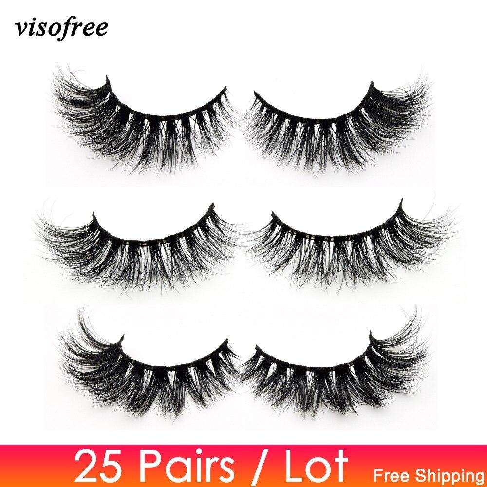 Visofree 25 Pairs/lot Eyelashes 3D Mink Lashes Handmade Dramatic Lashes Mink Collection Full Volume False Eyelash Makeup Cilios