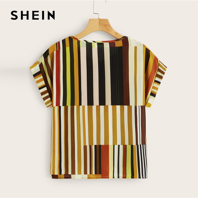 SHEIN Plus Size Multicolor Colorful Striped Top Blouse 2019 Women Summer Casual Short Sleeve Round Neck Big Size Blouses 5