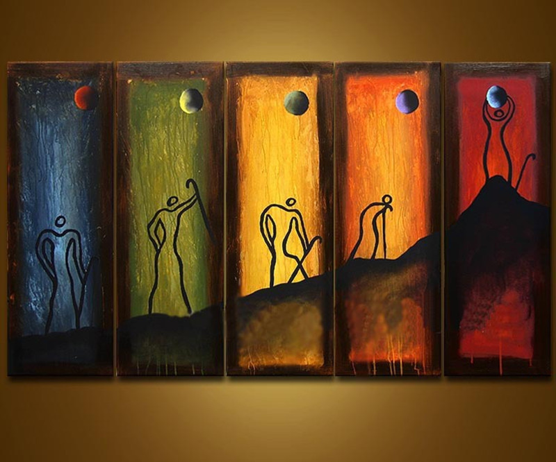 Abstract Colorful Hand Painted Oil Painting On Canvas