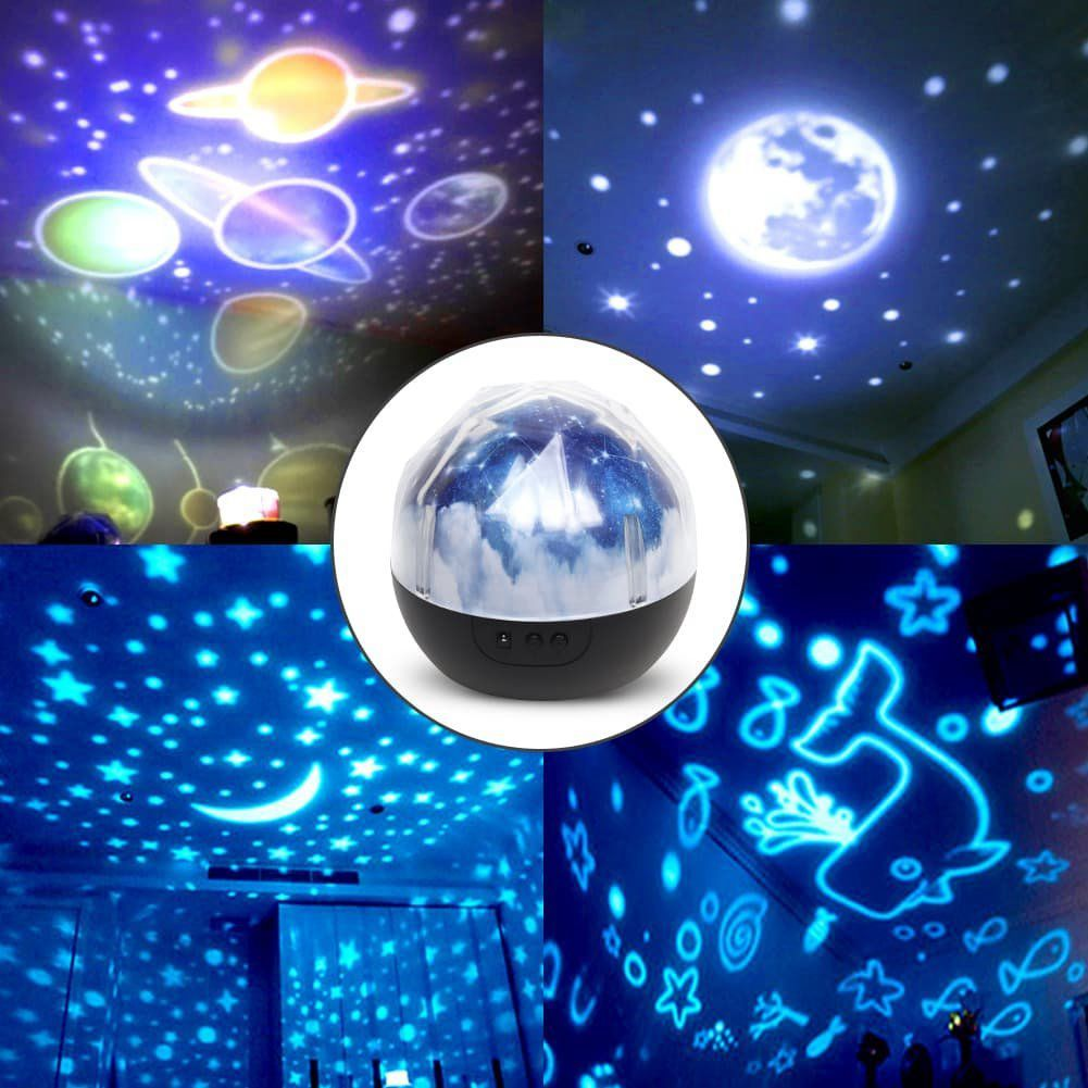 Star Night Lights for Kids Universe Cosmos Starry Sky Light LED Projector Rotating Lamp Nightlight Moon Sea World Decorative in LED Night Lights from Lights Lighting