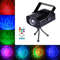 LED Water Ripples Laser Projector Sound Activated Strobe Stage lighting RGB Disco Dj Party Show lights 7 Color&Remote Control