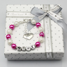 New name Personalised Girls baby Birthday Christmas Gift Charm Bracelet With Box hot pink white