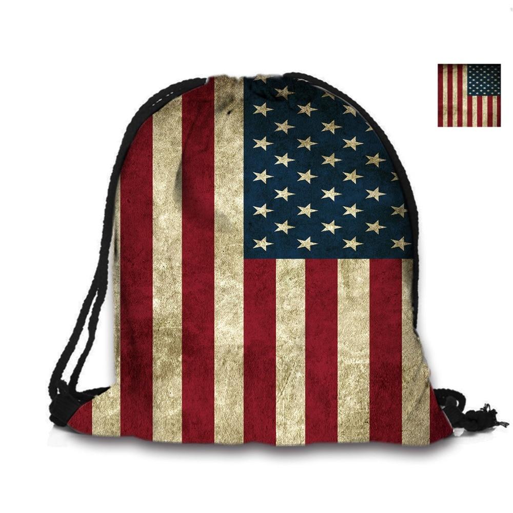 Bag Bag 3D Drawstring Argraffu Custom Pecyn Backpack Baner Americanaidd Ochr Ddwbl Argraffwyd Ar Gyfer Menyw Ysgol Bag Bag UDA Baneri Bagiau