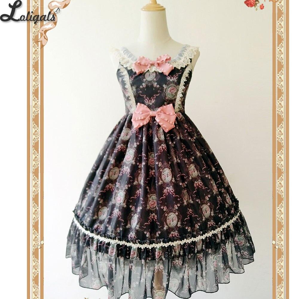 Vintage Floral Printed Sweet Lolita Dress Retro Sleeveless Midi Dress by Infanta
